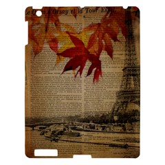Elegant Fall Autumn Leaves Vintage Paris Eiffel Tower Landscape Apple Ipad 3/4 Hardshell Case