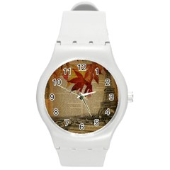 Elegant Fall Autumn Leaves Vintage Paris Eiffel Tower Landscape Plastic Sport Watch (medium)
