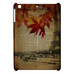 Elegant Fall Autumn Leaves Vintage Paris Eiffel Tower Landscape Apple Ipad Mini Hardshell Case