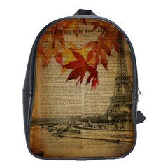 Elegant Fall Autumn Leaves Vintage Paris Eiffel Tower Landscape School Bag (xl)