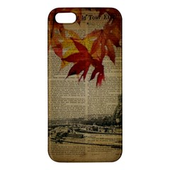 Elegant Fall Autumn Leaves Vintage Paris Eiffel Tower Landscape Iphone 5 Premium Hardshell Case by chicelegantboutique