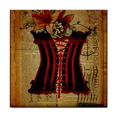 Black Red Corset Vintage Lily Floral Shabby Chic French Art Ceramic Tile by chicelegantboutique