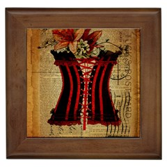 Black Red Corset Vintage Lily Floral Shabby Chic French Art Framed Ceramic Tile by chicelegantboutique