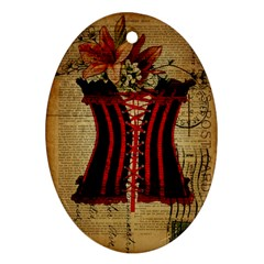 Black Red Corset Vintage Lily Floral Shabby Chic French Art Oval Ornament by chicelegantboutique