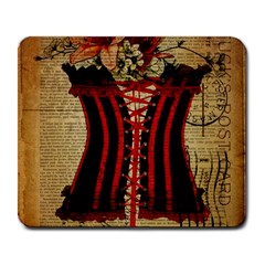 Black Red Corset Vintage Lily Floral Shabby Chic French Art Large Mouse Pad (rectangle) by chicelegantboutique