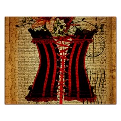Black Red Corset Vintage Lily Floral Shabby Chic French Art Jigsaw Puzzle (rectangle) by chicelegantboutique