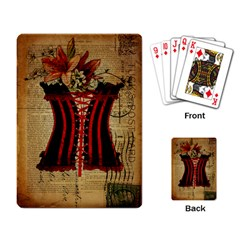 Black Red Corset Vintage Lily Floral Shabby Chic French Art Playing Cards Single Design by chicelegantboutique
