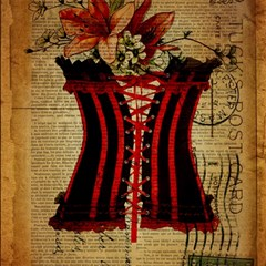 Black Red Corset Vintage Lily Floral Shabby Chic French Art Canvas 12  X 12  (unframed) by chicelegantboutique