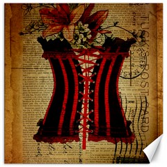 Black Red Corset Vintage Lily Floral Shabby Chic French Art Canvas 16  X 16  (unframed) by chicelegantboutique