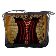 Black Red Corset Vintage Lily Floral Shabby Chic French Art Messenger Bag