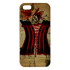 Black Red Corset Vintage Lily Floral Shabby Chic French Art Iphone 5 Premium Hardshell Case by chicelegantboutique