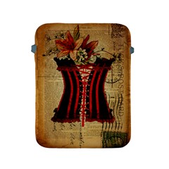 Black Red Corset Vintage Lily Floral Shabby Chic French Art Apple Ipad 2/3/4 Protective Soft Case by chicelegantboutique