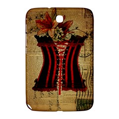 Black Red Corset Vintage Lily Floral Shabby Chic French Art Samsung Galaxy Note 8 0 N5100 Hardshell Case  by chicelegantboutique