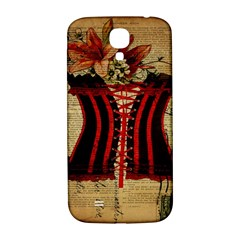 Black Red Corset Vintage Lily Floral Shabby Chic French Art Samsung Galaxy S4 I9500/i9505  Hardshell Back Case