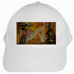 Funky Japanese Tattoo Koi Fish Graphic Art White Baseball Cap