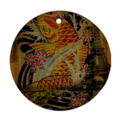 Funky Japanese Tattoo Koi Fish Graphic Art Round Ornament by chicelegantboutique