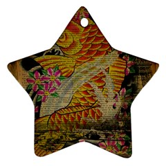 Funky Japanese Tattoo Koi Fish Graphic Art Star Ornament by chicelegantboutique