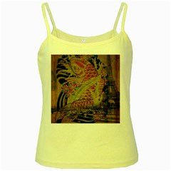 Funky Japanese Tattoo Koi Fish Graphic Art Yellow Spaghetti Tank by chicelegantboutique