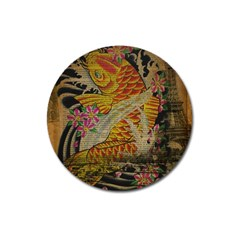 Funky Japanese Tattoo Koi Fish Graphic Art Magnet 3  (round) by chicelegantboutique