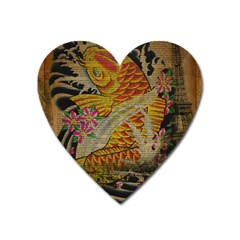 Funky Japanese Tattoo Koi Fish Graphic Art Magnet (heart) by chicelegantboutique