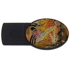 Funky Japanese Tattoo Koi Fish Graphic Art 2gb Usb Flash Drive (oval) by chicelegantboutique