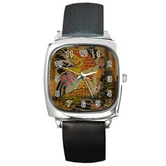 Funky Japanese Tattoo Koi Fish Graphic Art Square Leather Watch