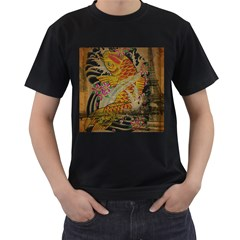 Funky Japanese Tattoo Koi Fish Graphic Art Mens' Two Sided T Shirt (black)