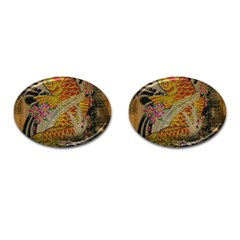 Funky Japanese Tattoo Koi Fish Graphic Art Cufflinks (oval) by chicelegantboutique