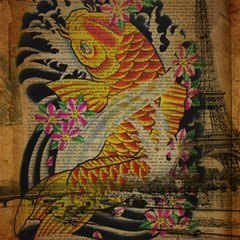 Funky Japanese Tattoo Koi Fish Graphic Art Canvas 12  X 12  (unframed)