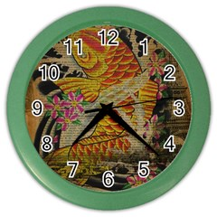Funky Japanese Tattoo Koi Fish Graphic Art Wall Clock (color) by chicelegantboutique