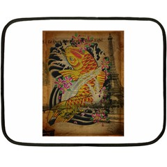 Funky Japanese Tattoo Koi Fish Graphic Art Mini Fleece Blanket (two Sided) by chicelegantboutique