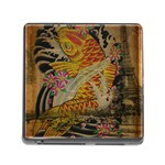 Funky Japanese Tattoo Koi Fish Graphic Art Memory Card Reader with Storage (Square) Front