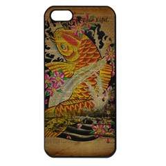 Funky Japanese Tattoo Koi Fish Graphic Art Apple Iphone 5 Seamless Case (black) by chicelegantboutique