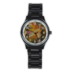 Funky Japanese Tattoo Koi Fish Graphic Art Sport Metal Watch (black) by chicelegantboutique