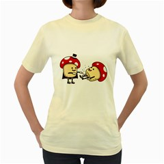 Magic Mushrooms  Womens  T Shirt (yellow) by Contest1714880