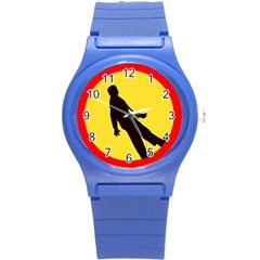 Walking Traffic Sign Plastic Sport Watch (small) by youshidesign