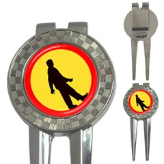 Walking Traffic Sign Golf Pitchfork & Ball Marker by youshidesign