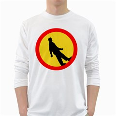 Walking Traffic Sign Mens' Long Sleeve T Shirt (white) by youshidesign