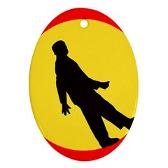 Walking Traffic Sign Oval Ornament (two Sides) by youshidesign