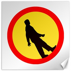 Walking Traffic Sign Canvas 16  X 16  (unframed) by youshidesign