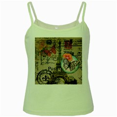 Floral Scripts Butterfly Eiffel Tower Vintage Paris Fashion Green Spaghetti Tank by chicelegantboutique