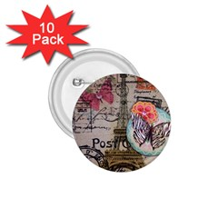 Floral Scripts Butterfly Eiffel Tower Vintage Paris Fashion 1 75  Button (10 Pack) by chicelegantboutique