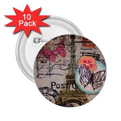 Floral Scripts Butterfly Eiffel Tower Vintage Paris Fashion 2 25  Button (10 Pack) by chicelegantboutique