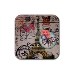 Floral Scripts Butterfly Eiffel Tower Vintage Paris Fashion Drink Coaster (square) by chicelegantboutique
