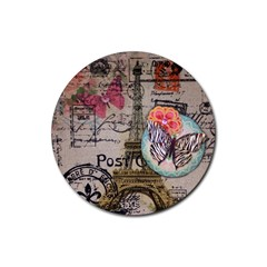 Floral Scripts Butterfly Eiffel Tower Vintage Paris Fashion Drink Coasters 4 Pack (round) by chicelegantboutique