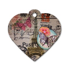 Floral Scripts Butterfly Eiffel Tower Vintage Paris Fashion Dog Tag Heart (two Sided) by chicelegantboutique