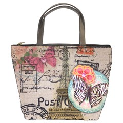 Floral Scripts Butterfly Eiffel Tower Vintage Paris Fashion Bucket Bag