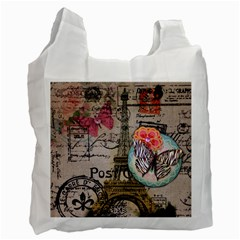 Floral Scripts Butterfly Eiffel Tower Vintage Paris Fashion Recycle Bag (two Sides) by chicelegantboutique