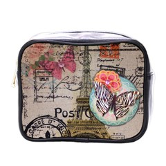 Floral Scripts Butterfly Eiffel Tower Vintage Paris Fashion Mini Travel Toiletry Bag (one Side) by chicelegantboutique