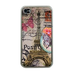 Floral Scripts Butterfly Eiffel Tower Vintage Paris Fashion Apple Iphone 4 Case (clear)